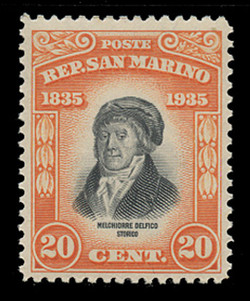 SAN MARINO Scott #  173, 1935 20c Melchiorre Delfico, orange