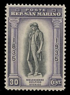SAN MARINO Scott #  175, 1935 30c Melchiorre Delfico Statue, dull violet