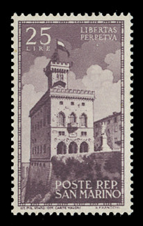 SAN MARINO Scott #  241, 1945 25 lire Government Palace, brown violet