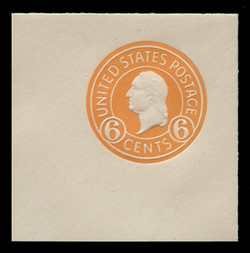 U.S. Scott # U 529, 1932 6c Washington, Orange on White - Mint Full Corner