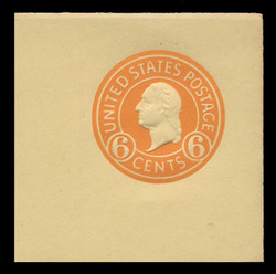 U.S. Scott # U 530, 1932 6c Washington, Orange on Amber - Mint Full Corner