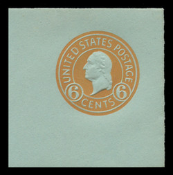 U.S. Scott # U 531, 1932 6c Washington, Orange on Blue - Mint Full Corner