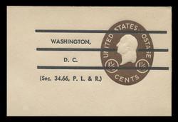 U.S. Scott # U 535P, 1952 1½c Washington, Precancelled - Mint Full Corner