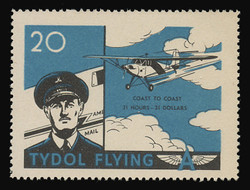 "Tydol Flying ""A"" Poster Stamps of 1940 - #20, Coast to Coast - 31 Hours, 30 Dollars"
