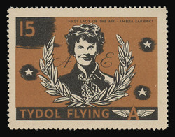 "Tydol Flying ""A"" Poster Stamps of 1940 - #15, Amelia Earhart - ""First Lady of the Air"""