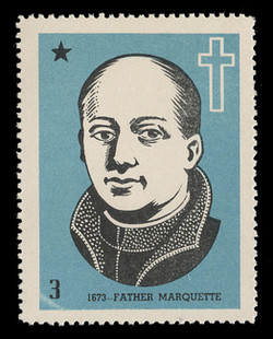Chicagoland Poster Stamps of  1938 - #  3 Father Marquette, 1673