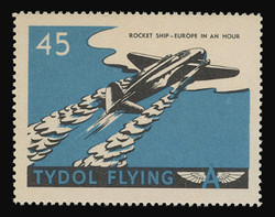 """Tydol Flying """"A"""" Poster Stamps of 1940 - #45, Rocket Ship - Europe in an Hour"""