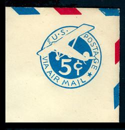U.S. Scott # UC  2 1929 5c Plane, Blue Background, Die 2, Border e(5) - Mint Full Corner (See Warranty)