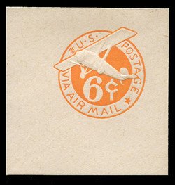 U.S. Scott # UC  6N 1942 6c Plane, Orange Background, Die 3, NO Border - Mint Full Corner