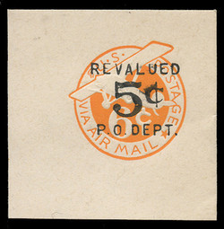 U.S. Scott # UC 11 1946 5c on 6c (UC4N) Plane, Orange Background, Die 2b, NO Border - Mint Full Corner