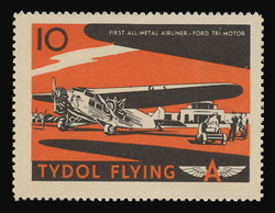"Tydol Flying ""A"" Poster Stamps of 1940 - #10, First All-Metal Airliner - Ford Tri-Motor"