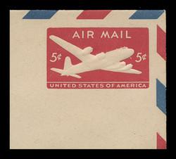 U.S. Scott # UC 15 1946 5c DC-4 Skymaster, Die 2, Border d(4) - Mint Full Corner (See Warranty)
