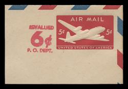 U.S. Scott # UC 21 1952 6c (Solid) on 5c (UC14) DC-4 Skymaster, Die 1 Border b(2) - Mint Full Corner (See Warranty)