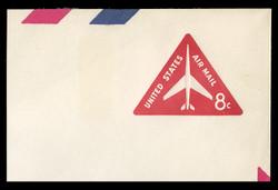 U.S. Scott # UC 37a 1967 8c Jet Airliner, Red, Border 6 - Tagged - Mint Full Corner (See Warranty)