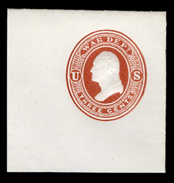U.S. Scott # UO 020 1873 3c Washington, dark red on white - Mint Full Corner