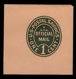U.S. Scott # UO 071 1911 1c Official Mail, green on buff - Mint Full Corner