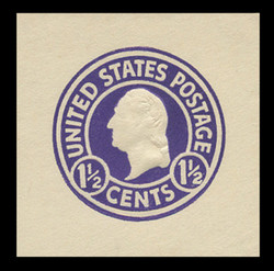 U.S. Scott # U 481b, 1925 1½c Washington, purple (Error) on white, Die 1 - Mint Cut Square