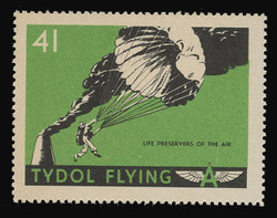 """Tydol Flying """"A"""" Poster Stamps of 1940 - #41, Life Preservers of the Air"""
