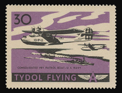 """Tydol Flying """"A"""" Poster Stamps of 1940 - #30, Consolidated PBY Patrol Boat - U.S. Navy"""