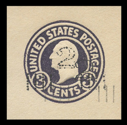 U.S. Scott # U 458d, 1920-1 2c on 3c (U436a) Washington, dark violet on white, Die 1 - Double Surcharge Error - Mint Cut Square