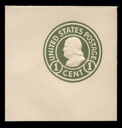 U.S. Scott # U 420, 1915-32 1c Franklin, green on white, Die 1 - Mint Full Corner