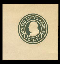 U.S. Scott # U 420c, 1915-32 1c Franklin, green on white, Die 4 - Mint Full Corner