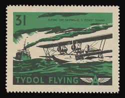 """Tydol Flying """"A"""" Poster Stamps of 1940 - #31, Flying Life Savers - U.S. Coast Guard"""