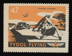 """Tydol Flying """"A"""" Poster Stamps of 1940 - #47, Roadable Autogiro"""