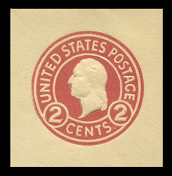 U.S. Scott # U 430e, 1915-32 2c Washington, carmine on amber, Die 7 - Mint Cut Square