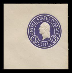 U.S. Scott # U 436e, 1915-32 3c Washington, purple on white, Die 7 - Mint Full Corners