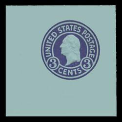 U.S. Scott # U 439, 1915-32 3c Washington, purple on blue, Die 1 - Mint Full Corner