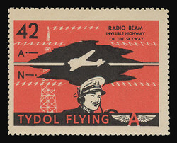 """Tydol Flying """"A"""" Poster Stamps of 1940 - #42, Radio Beam - Invisible Highway of the Skyway"""