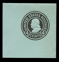 U.S. Scott # U 442, 1915-32 4c Franklin, black on blue, Die 1 - Mint Full Corners