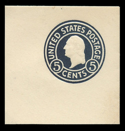 U.S. Scott # U 443, 1915-32 5c Washington, blue on white, Die 1 - Mint Full Corners