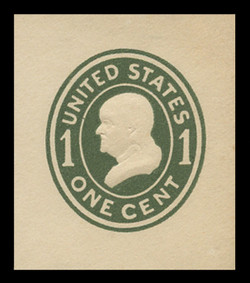 U.S. Scott # U 400a, 1907-16 1c Franklin, green on white, Die 2 - Mint Cut Square