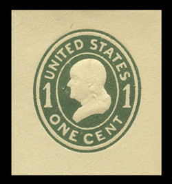 U.S. Scott # U 401a, 1907-16 1c Franklin, green on amber, Die 2 - Mint Cut Square