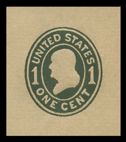 U.S. Scott # U 405b, 1907-16 1c Franklin, green on manila, Die 3 - Mint Cut Square
