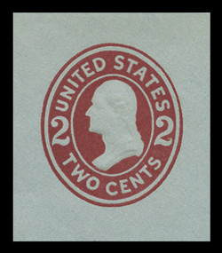 U.S. Scott # U 409b, 1907-16 2c Washington, brown red on blue, Die 3 - Mint Cut Square