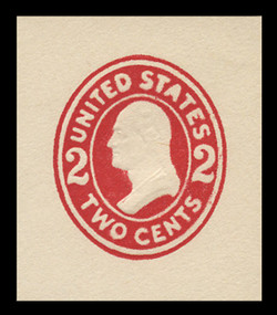 U.S. Scott # U 411b, 1907-16 2c Washington, carmine on white, Die 3 - Mint Cut Square