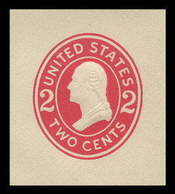 U.S. Scott # U 411c, 1907-16 2c Washington, carmine on white, Die 4 - Mint Cut Square