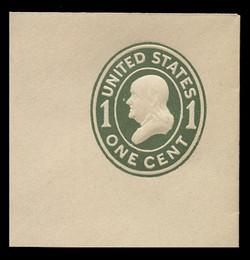 U.S. Scott # U 400, 1907-16 1c Franklin, green on white, Die 1 - Mint Full Corner