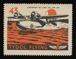 """Tydol Flying """"A"""" Poster Stamps of 1940 - #43, Amphibians - By Land, Sea or Air"""