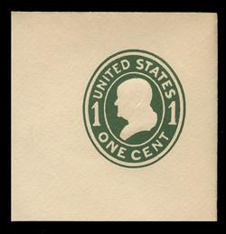 U.S. Scott # U 400a, 1907-16 1c Franklin, green on white, Die 2 - Mint Full Corner
