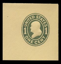 U.S. Scott # U 401, 1907-16 1c Franklin, green on amber, Die 1 - Mint Full Corner