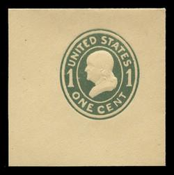 U.S. Scott # U 401a, 1907-16 1c Franklin, green on amber, Die 2 - Mint Full Corner