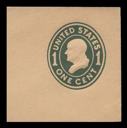 U.S. Scott # U 402c, 1907-16 1c Franklin, green on buff, Die 4 - Mint Full Corner