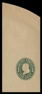 U.S. Scott # U 405, 1907-16 1c Franklin, green on manila, Die 1 - Mint Full Corner