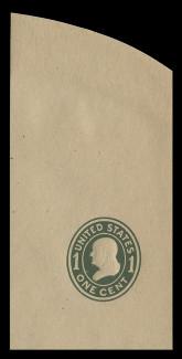 U.S. Scott # U 405a, 1907-16 1c Franklin, green on manila, Die 2 - Mint Full Corner