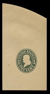 U.S. Scott # U 405b, 1907-16 1c Franklin, green on manila, Die 3 - Mint Full Corner