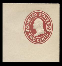 U.S. Scott # U 406, 1907-16 2c Washington, brown red on white, Die 1 - Mint Full Corner